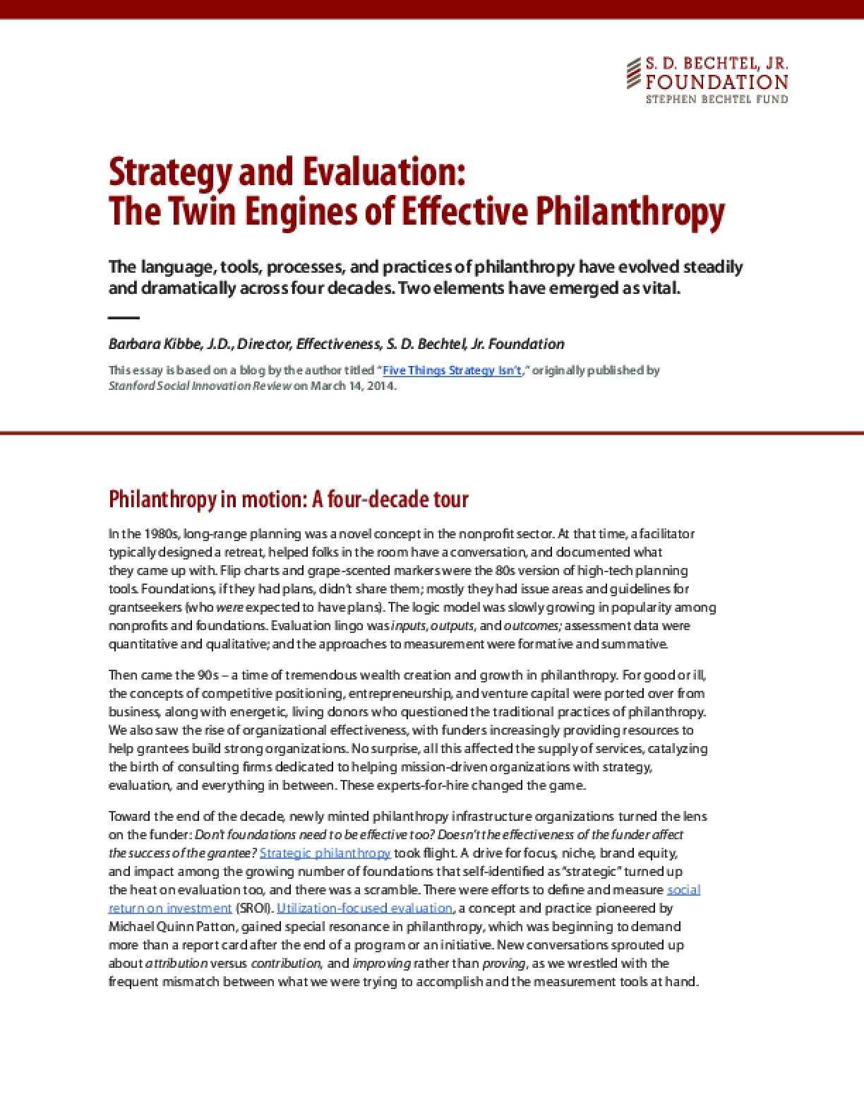 Strategy and Evaluation: The Twin Engines of Effective Philanthropy