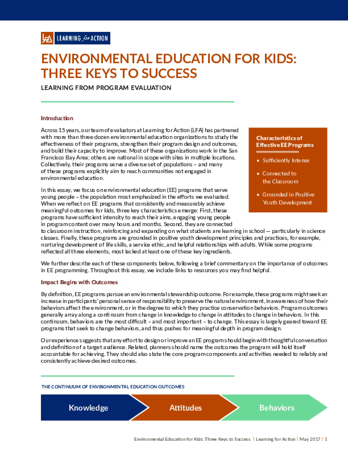 Environmental Education for Kids: Three Keys to Success Learning From Program Evaluation