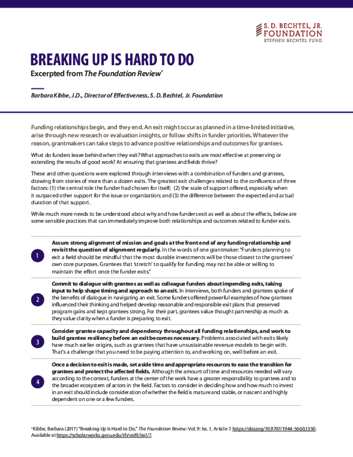 Breaking Up Is Hard to Do(Excerpted from the Foundation Review)
