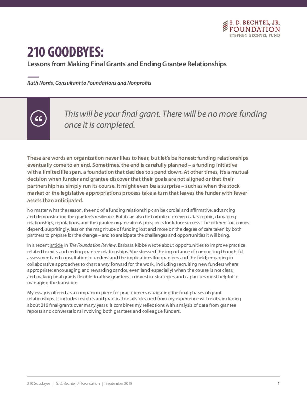 210 Goodbyes: Lessons from Making Final Grants and Ending Grantee Relationships