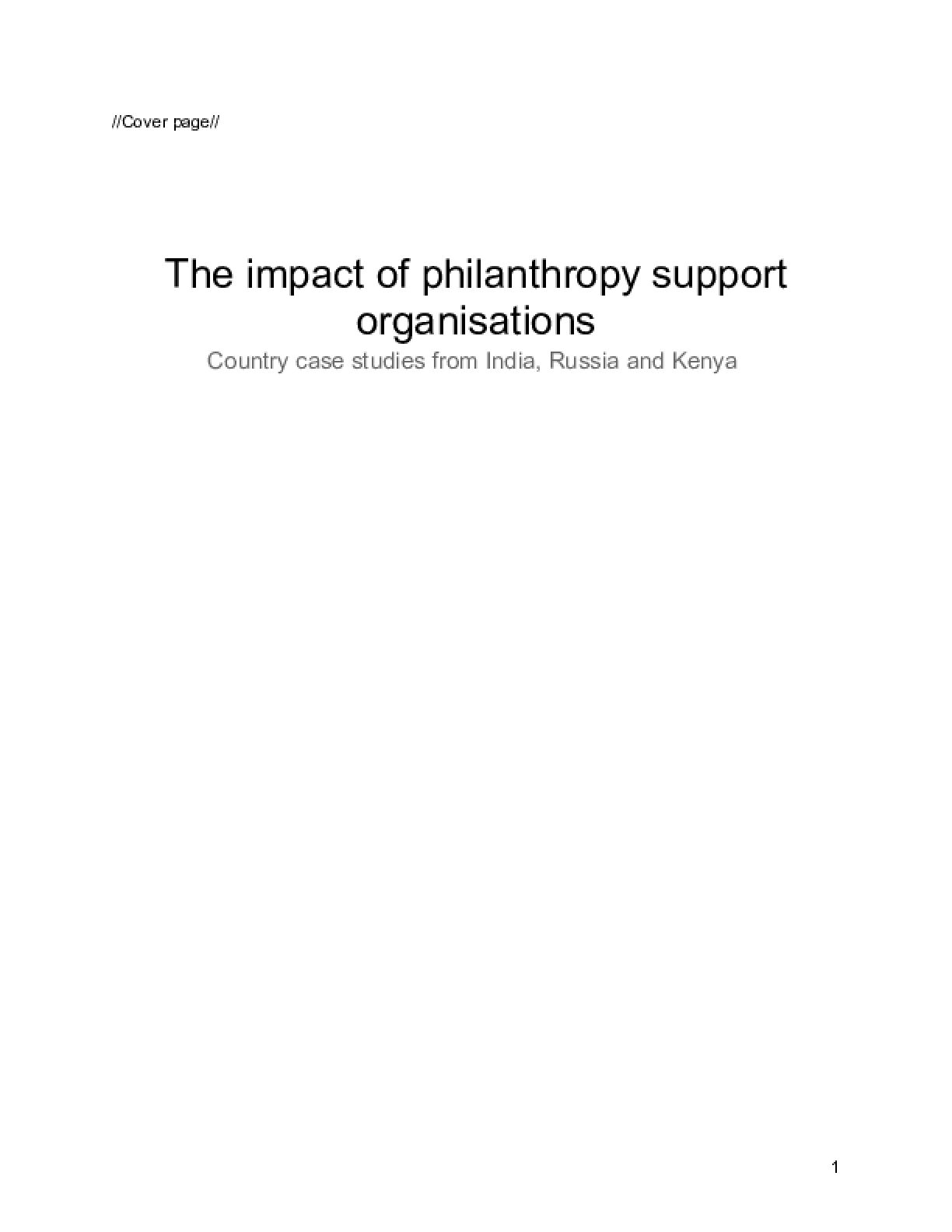 The impact of philanthropy support organisations Country case studies from India, Russia and Kenya