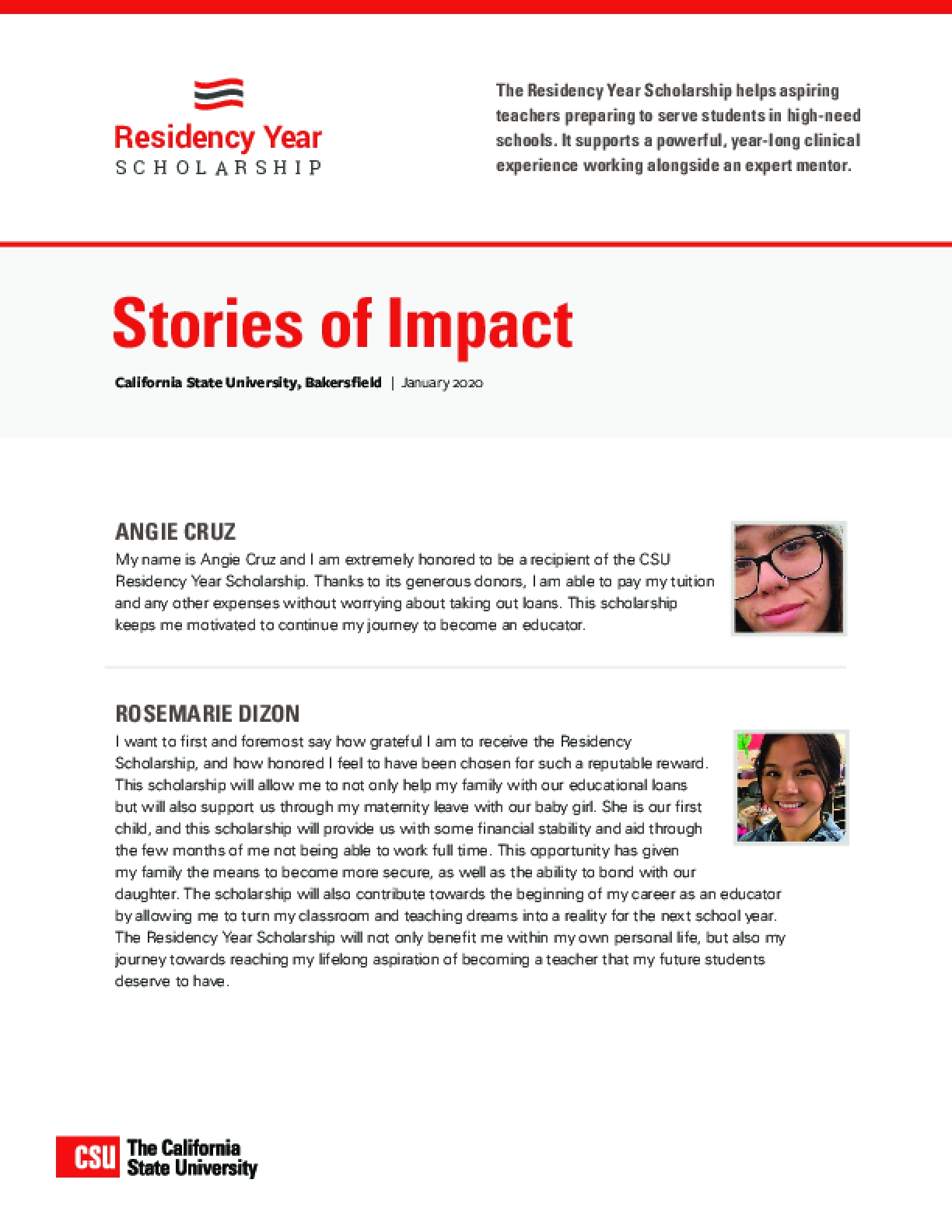 Residency Year Scholarship Stories of Impact: California State University, Bakersfield