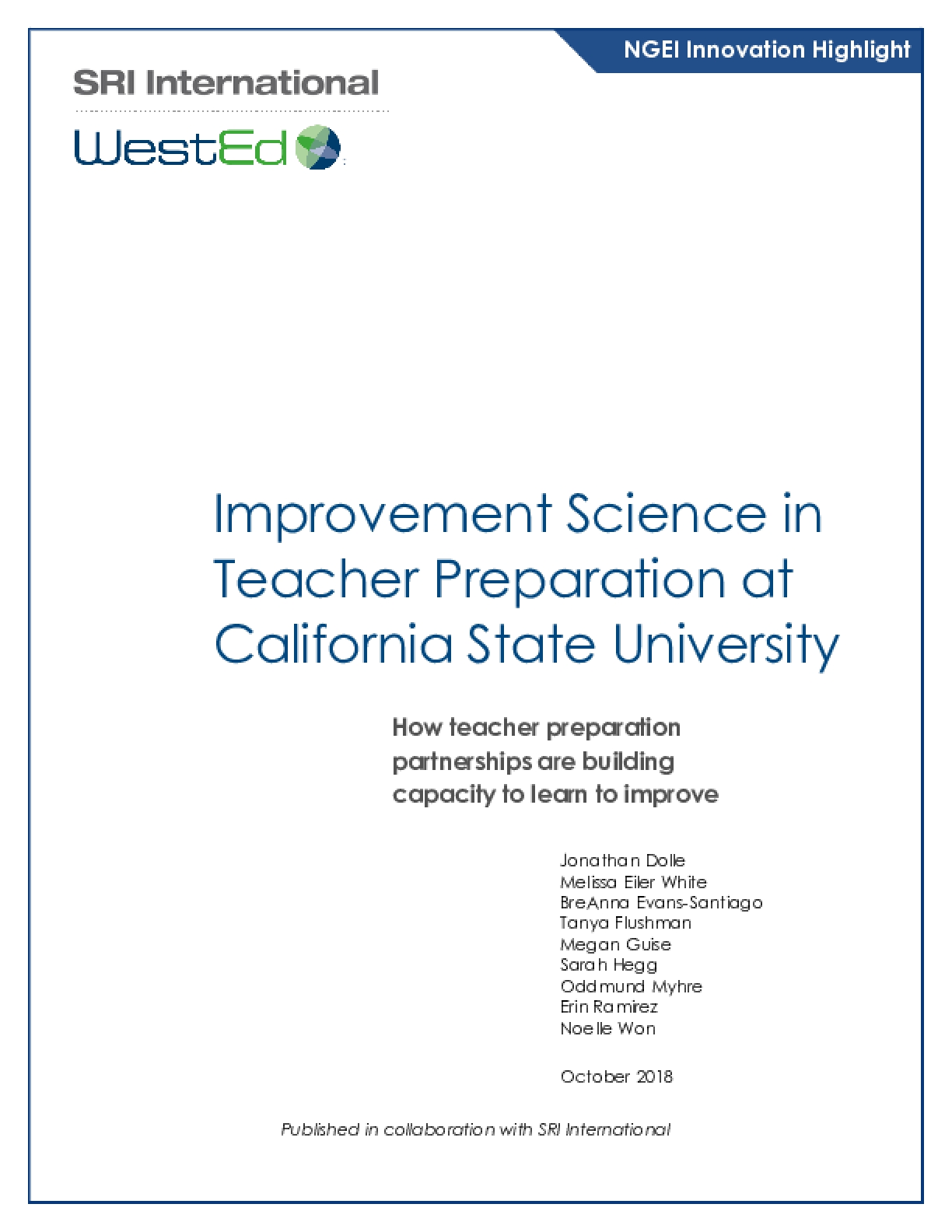 Improvement Science in Teacher Preparation at California State University: How teacher preparation partnerships are building capacity to learn to improve