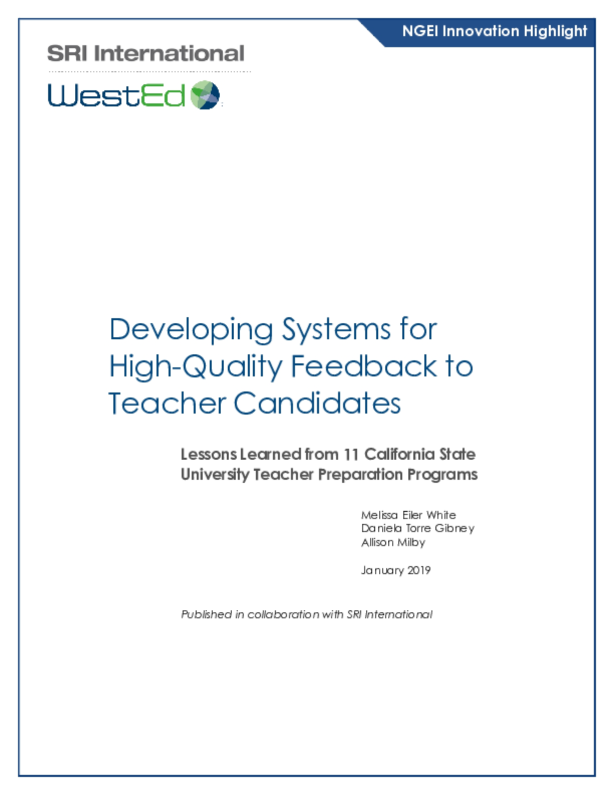Developing Systems for High-Quality Feedback to Teacher Candidates: Lessons Learned from 11 California State University Teacher Preparation Programs