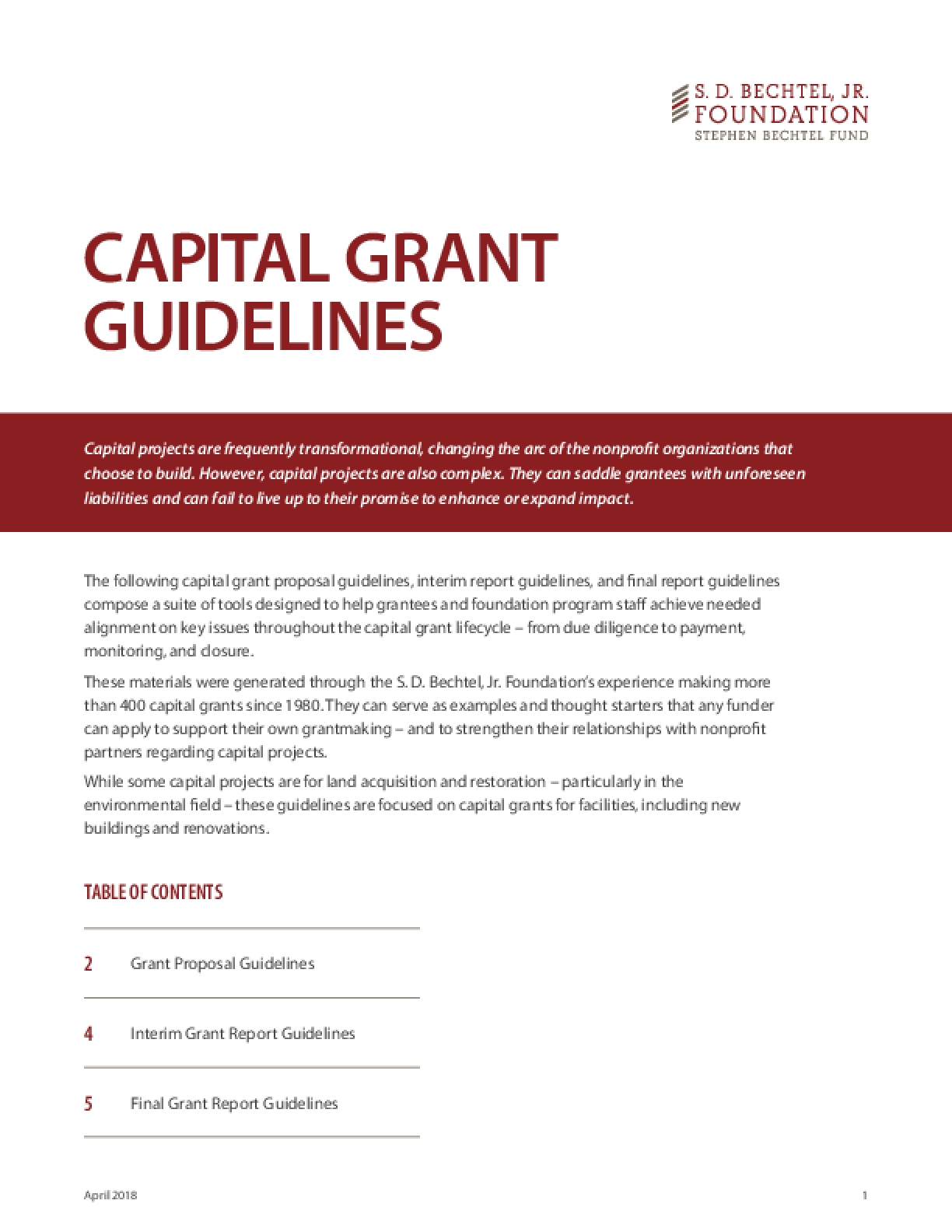 Capital Grant Guidelines