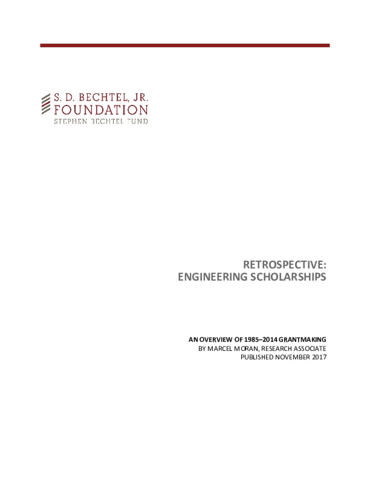 Retrospective: Engineering Scholarships: An Overview of 1985-2014 Grantmaking