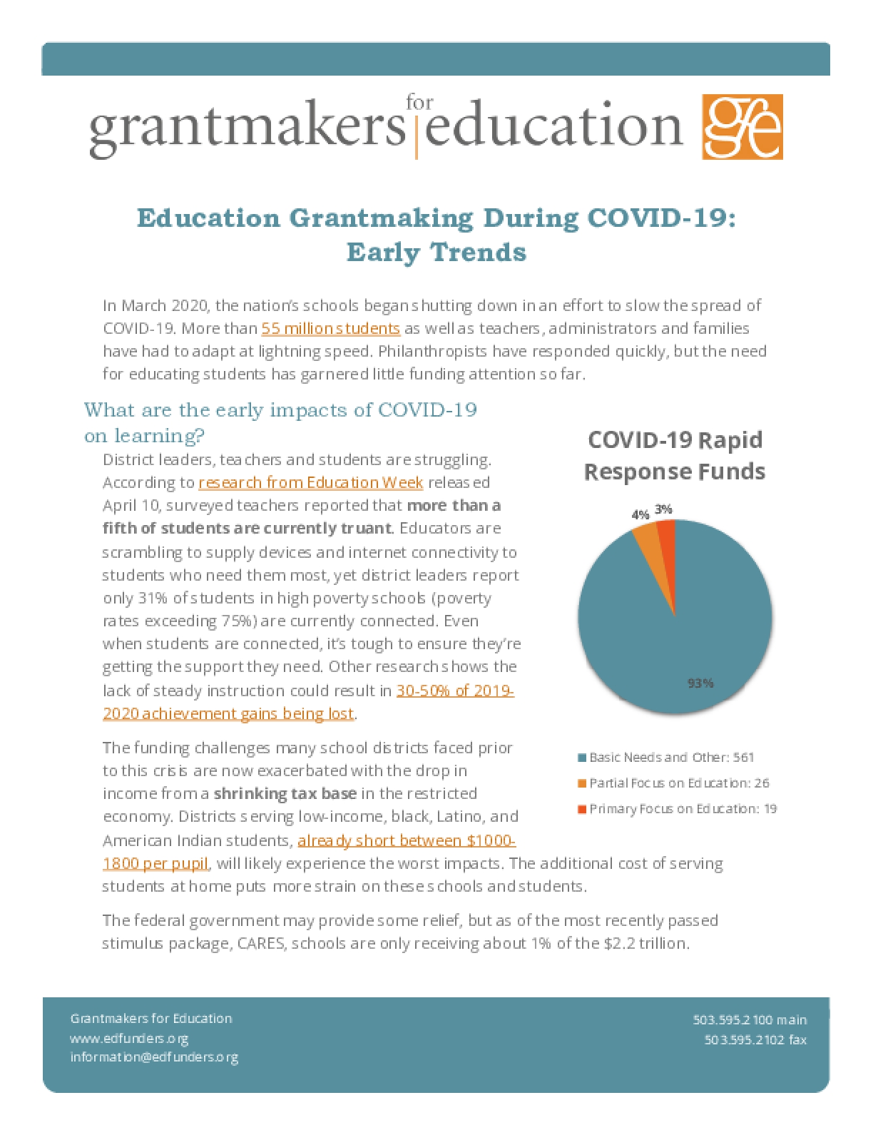 Education Grantmaking During COVID-19: Early Trends
