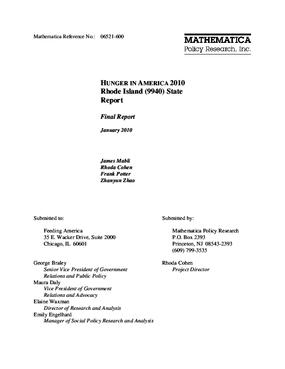 Hunger in America 2010 Rhode Island State Report
