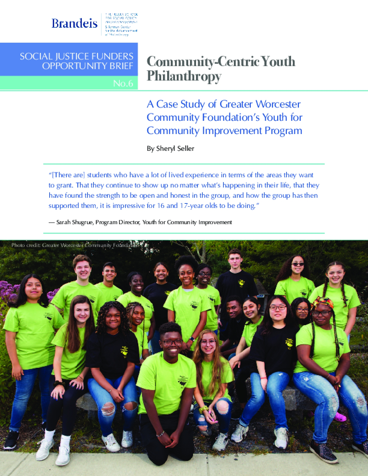 Community-Centric Youth Philanthropy: A Case Study of Greater Worcester Community Foundation's Youth for Community Improvement Program