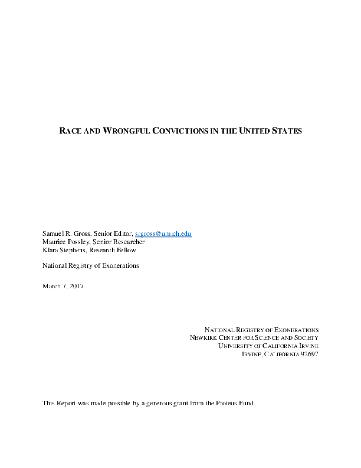 Race and Wrongful Convictions in the United States
