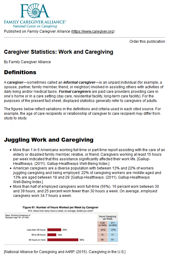 Caregiver Statistics: Work and Caregiving