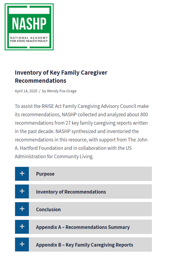 Inventory of Key Family Caregiver Recommendations