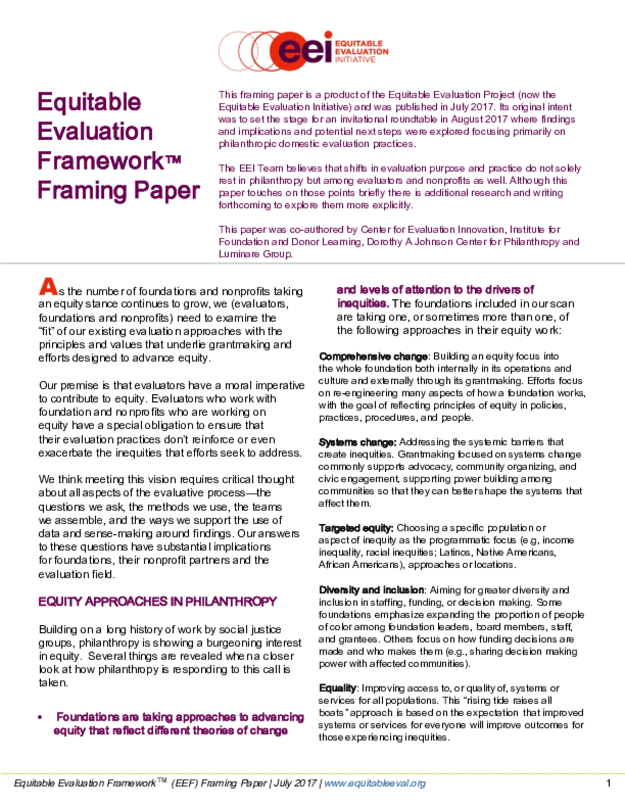 Equitable Evaluation Framework Framing Paper