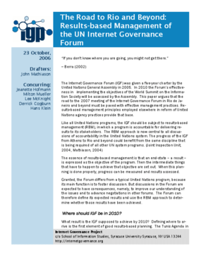 The Road to Rio: Results-based Management of the UN Internet Governance Forum