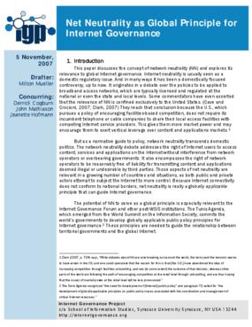 Net Neutrality as Global Principle for Internet Governance