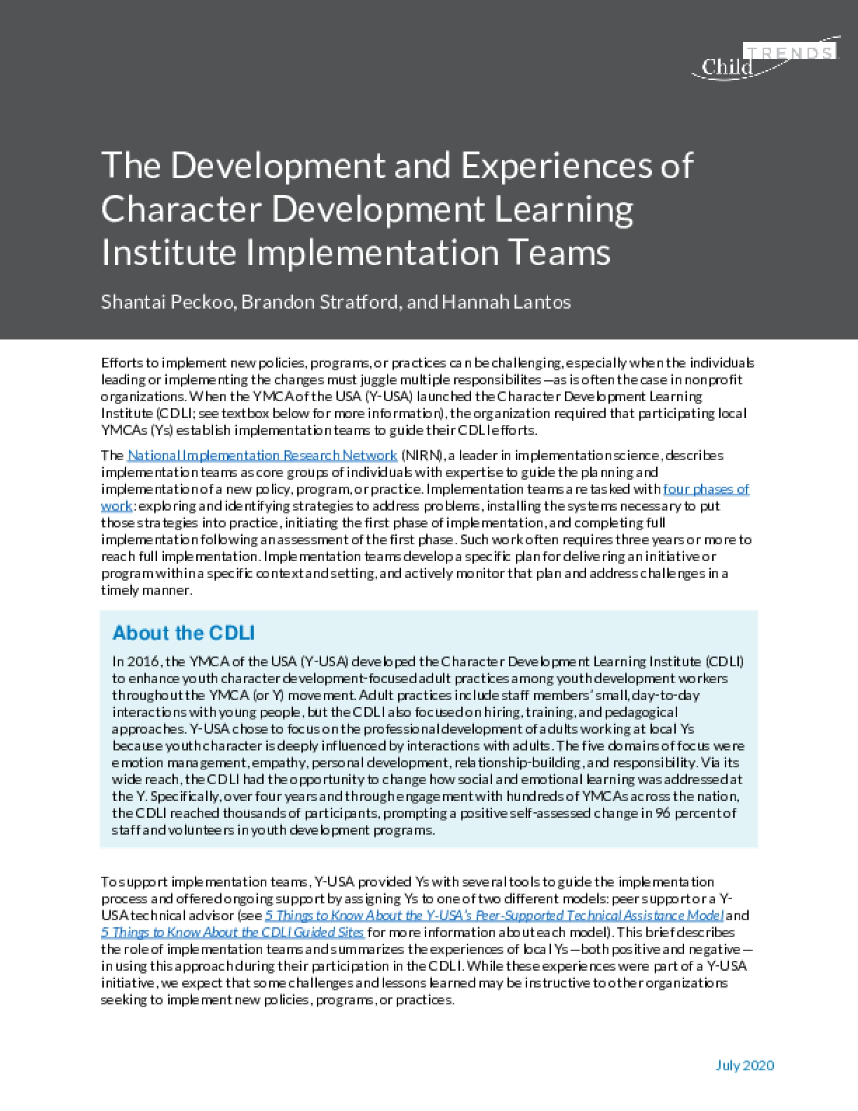 The Development and Experiences of Character Development Learning Institute Implementation Teams