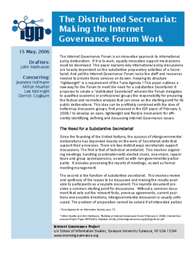 The Distributed Secretariat: Making the Internet Governance Forum Work