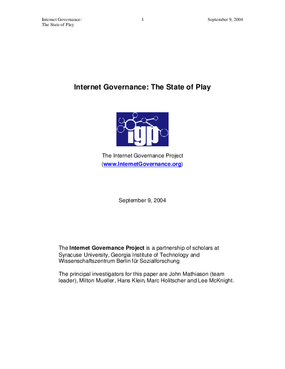 Internet Governance: the State of Play