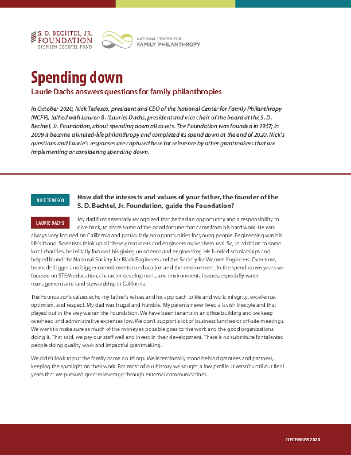 Spending Down: Laurie Dachs Answers Questions for Family Philanthropies