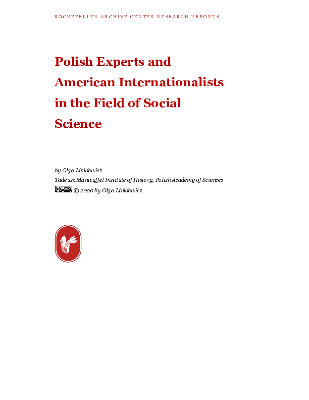 Polish Experts and American Internationalists in the Field of Social Science