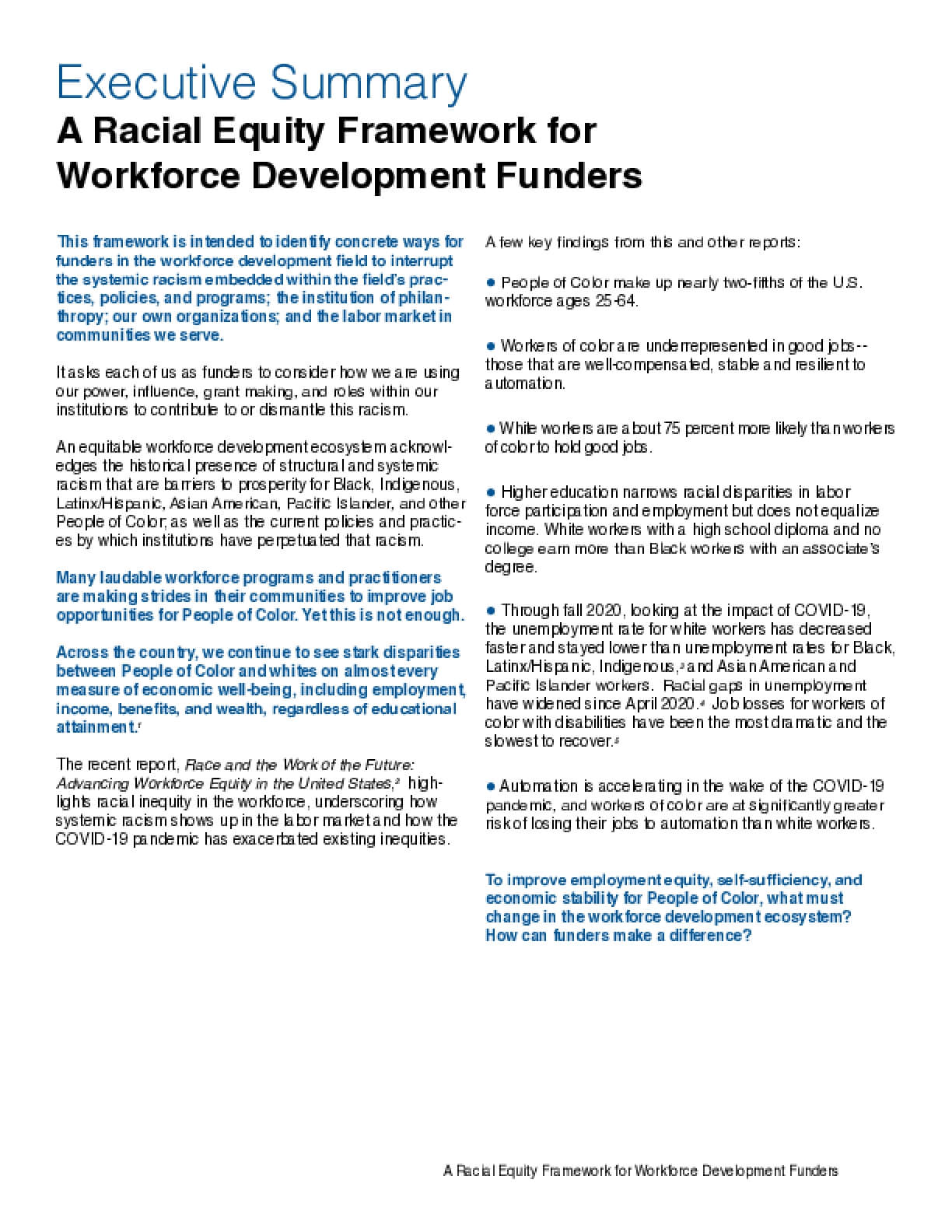 A Racial Equity Framework for Workforce Development Funders (Executive Summary)