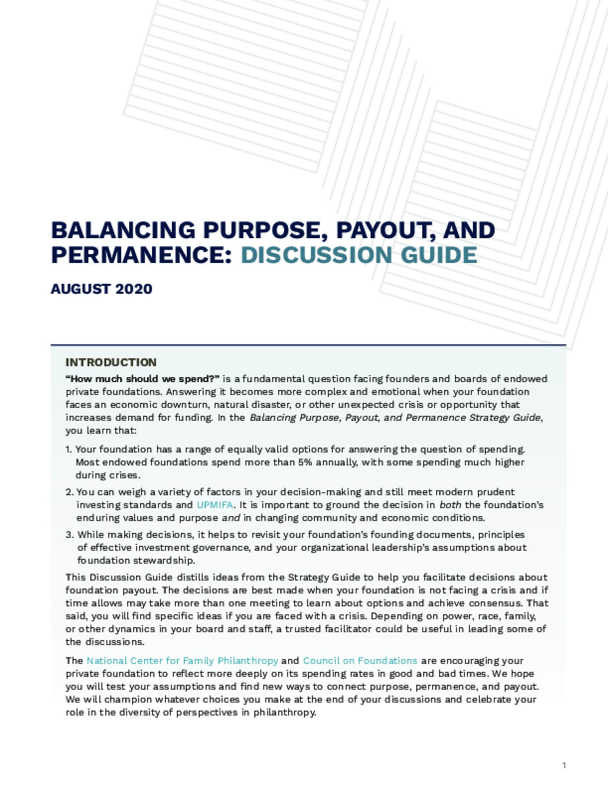 Balancing Purpose, Payout, and Permanence Discussion Guide