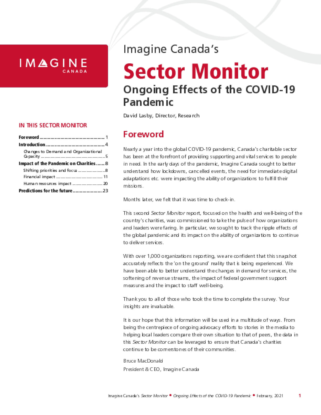 Imagine Canada's Sector Monitor: Ongoing Effects of the COVID-19 Pandemic