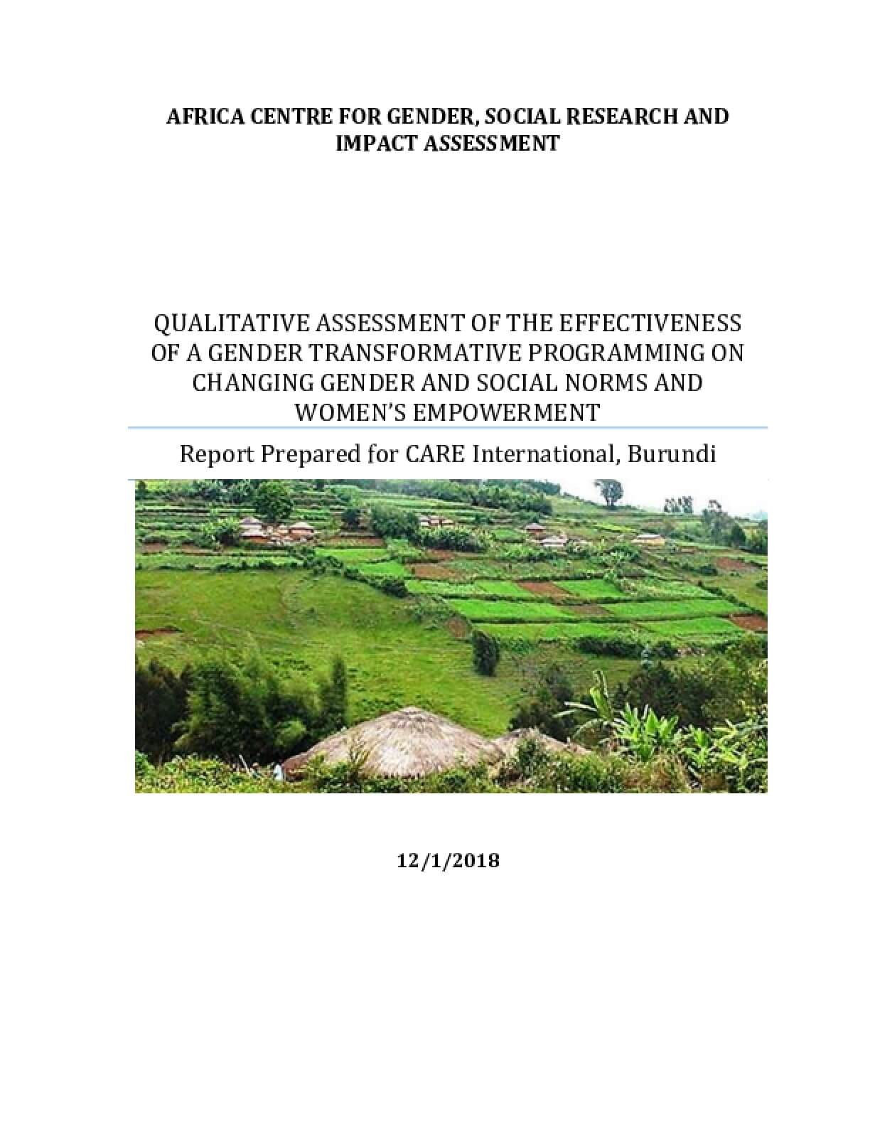 Qualitative Assessment of the Effectiveness of a Gender Transformative Programming on Changing Gender and Social Norms and Women's Empowerment