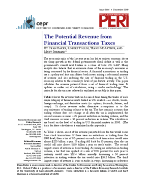 The Potential Revenue from Financial Transactions Taxes