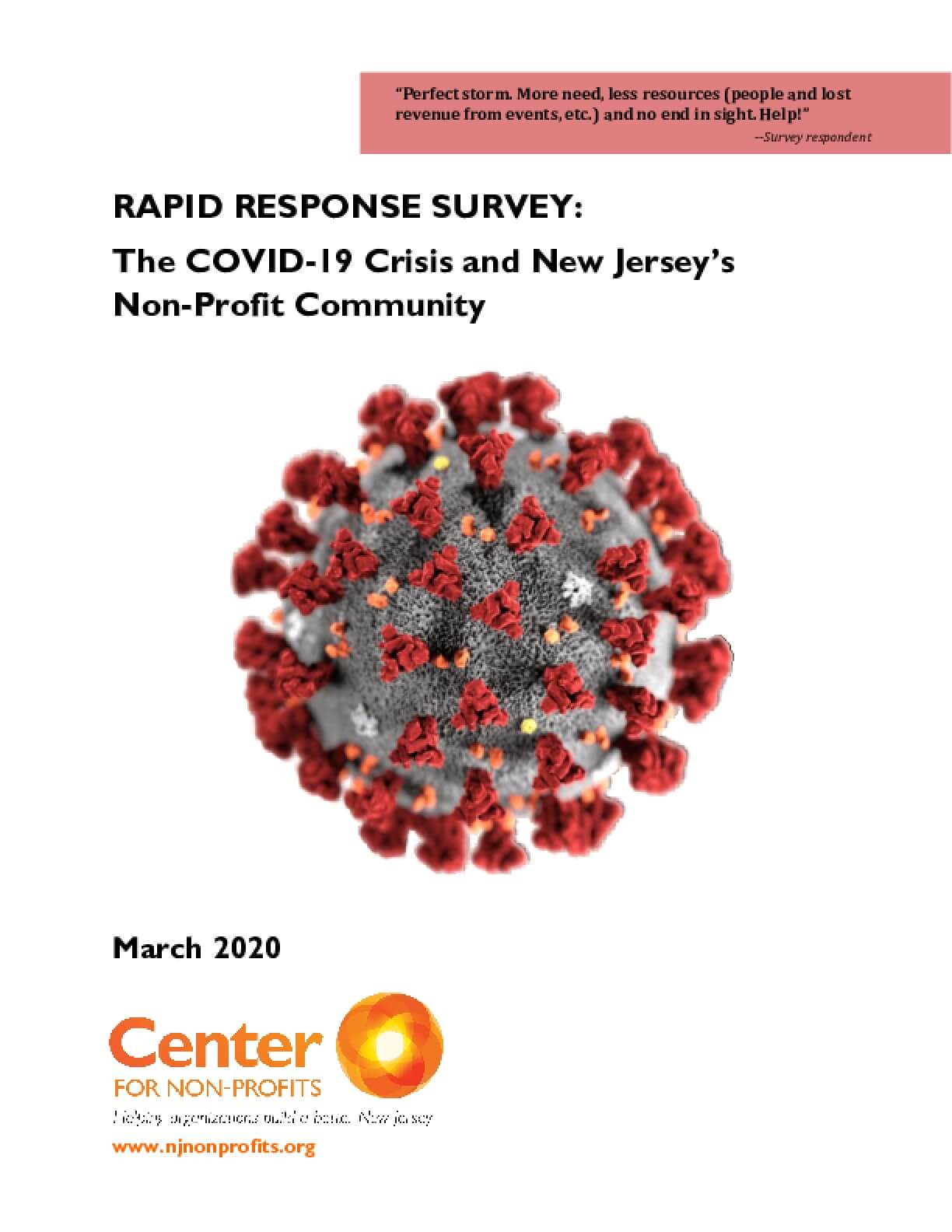 Rapid Response Survey: The COVID-19 Crisis and New Jersey's Non-Profit Community