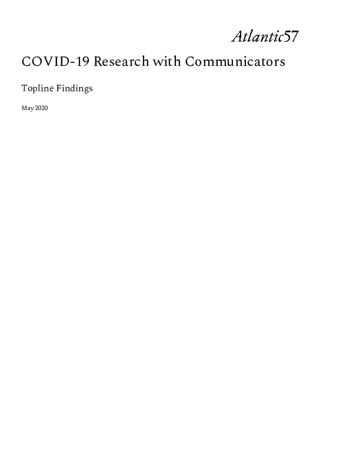 COVID-19 Research with Communicators: Topline Findings