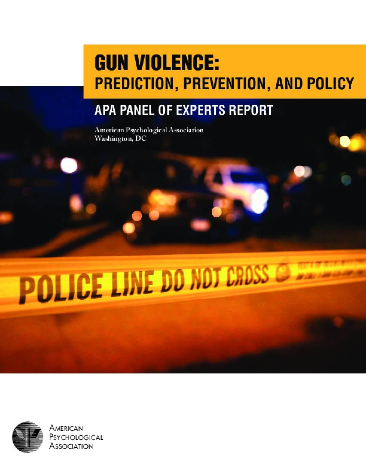 Gun Violence: Prediction, Prevention, and Policy