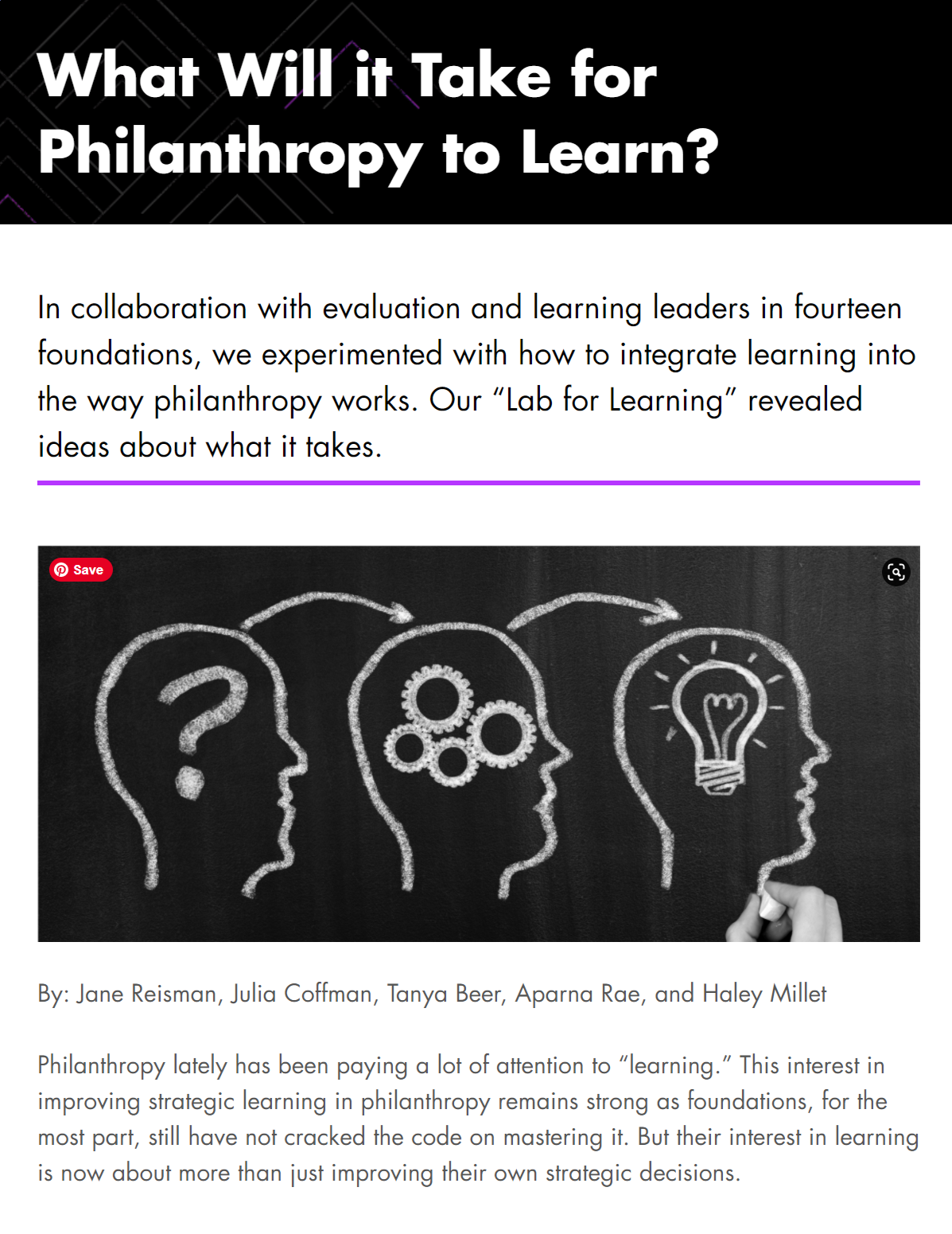 What Will it Take for Philanthropy to Learn?
