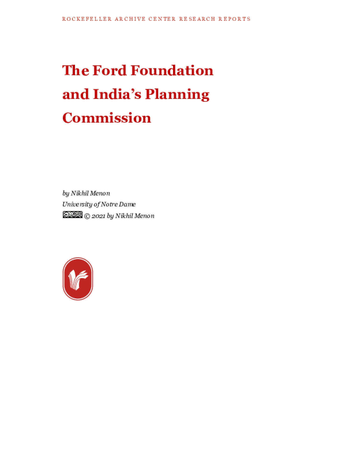 The Ford Foundation  and India's Planning Commission