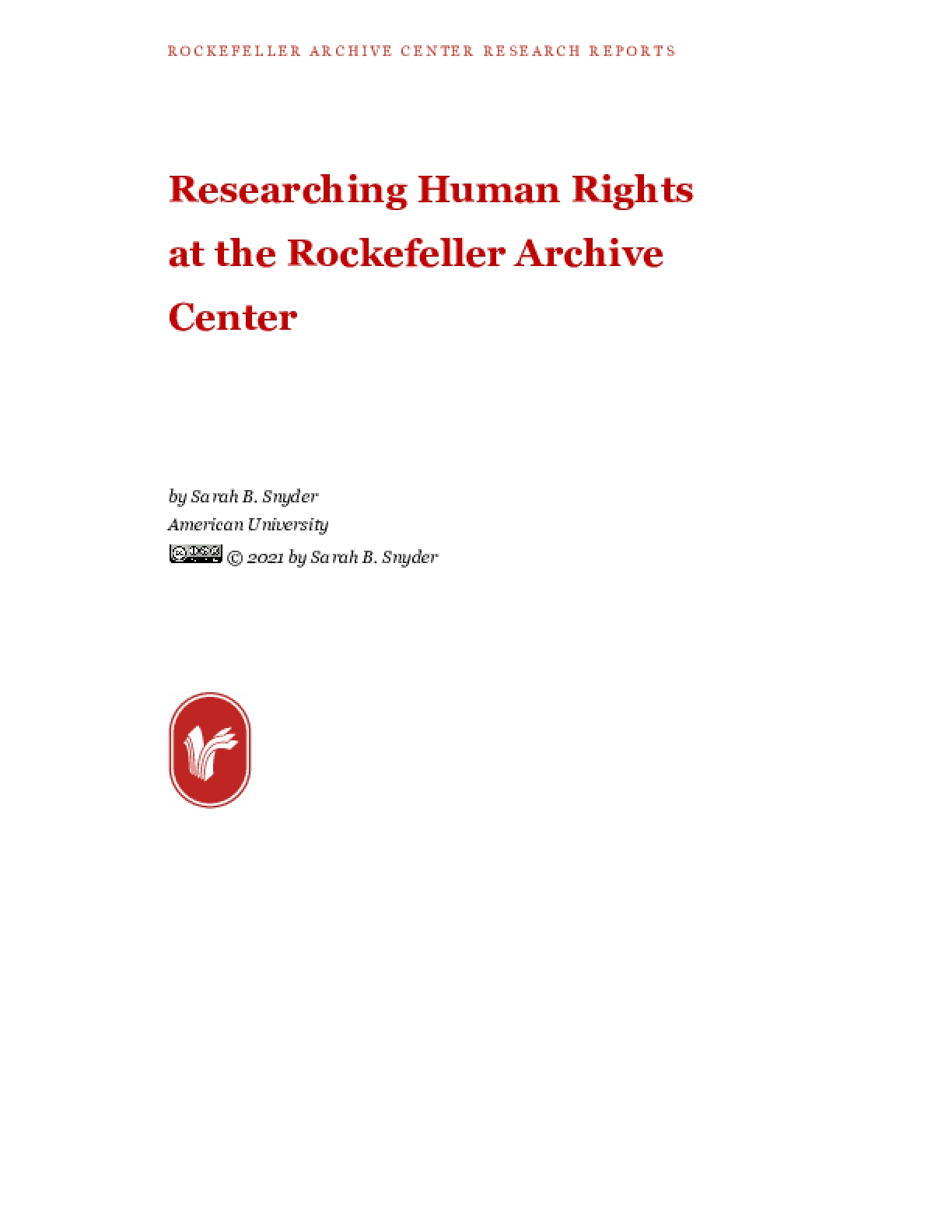 Researching Human Rights at the Rockefeller Archive Center