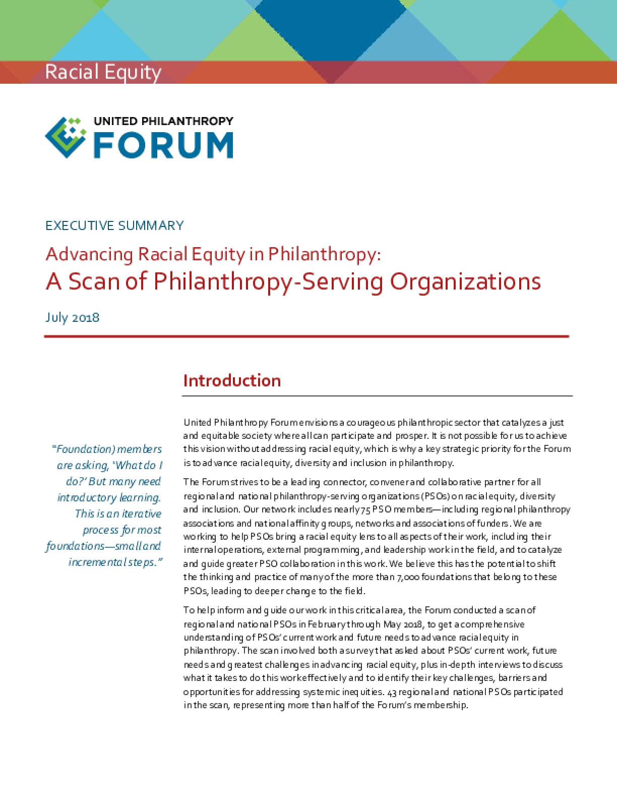 Advancing Racial Equity in Philanthropy: A Scan of Philanthropy-Serving Organizations - Executive Summary