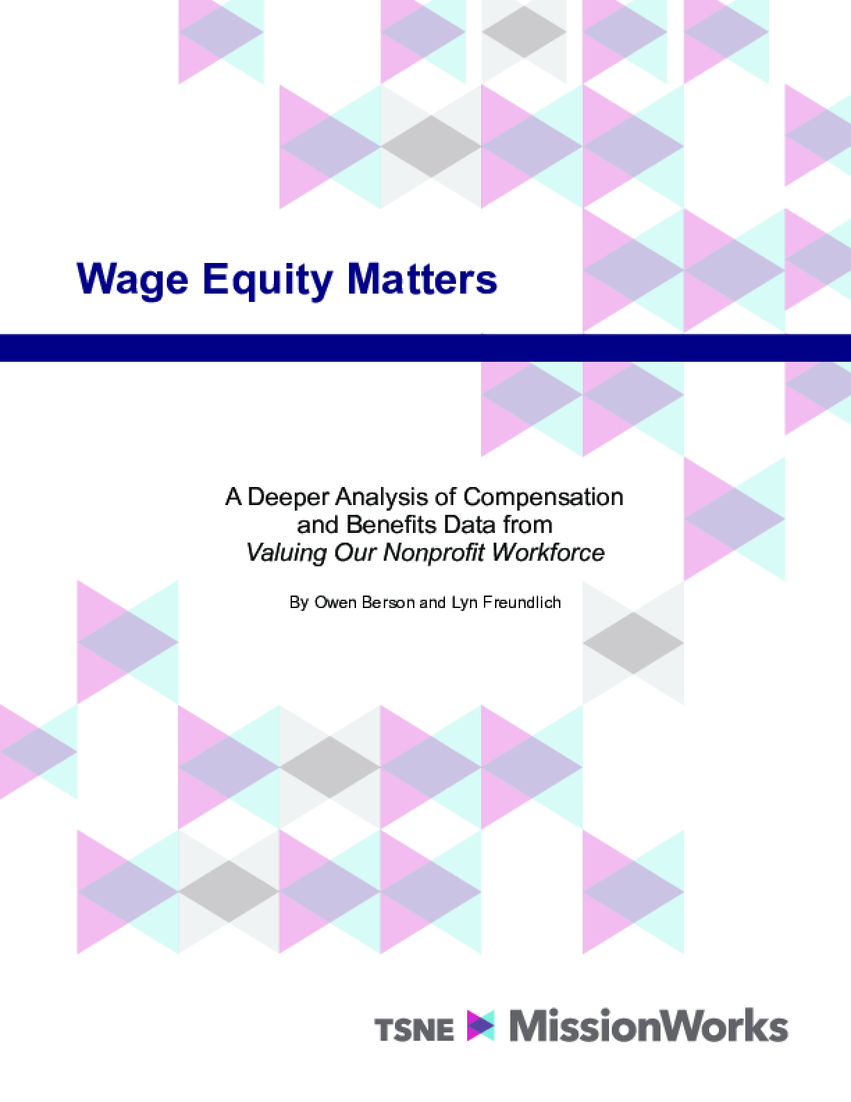 Wage Equity Matters: A Deeper Analysis of Compensation and Benefits Data from Valuing Our Nonprofit Workforce