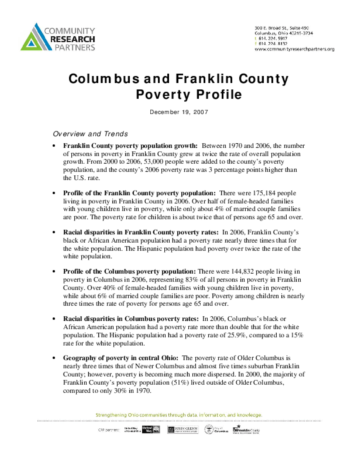 Columbus and Franklin County Poverty Profile