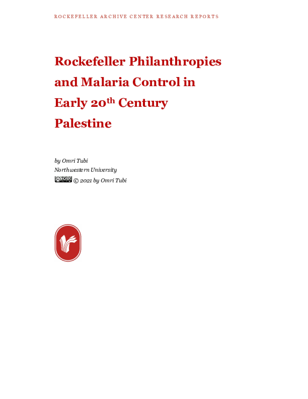 Rockefeller Philanthropies and Malaria Control in Early 20th Century Palestine