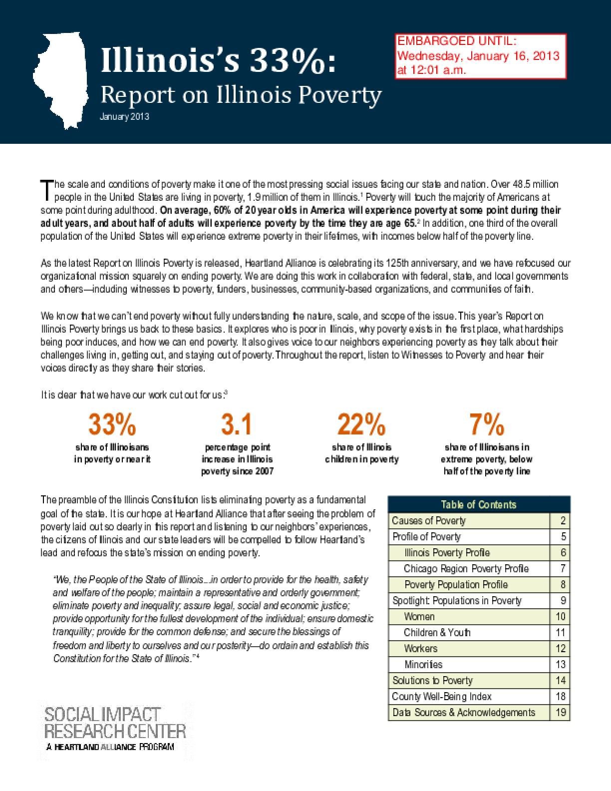 2013 Report on Illinois Poverty