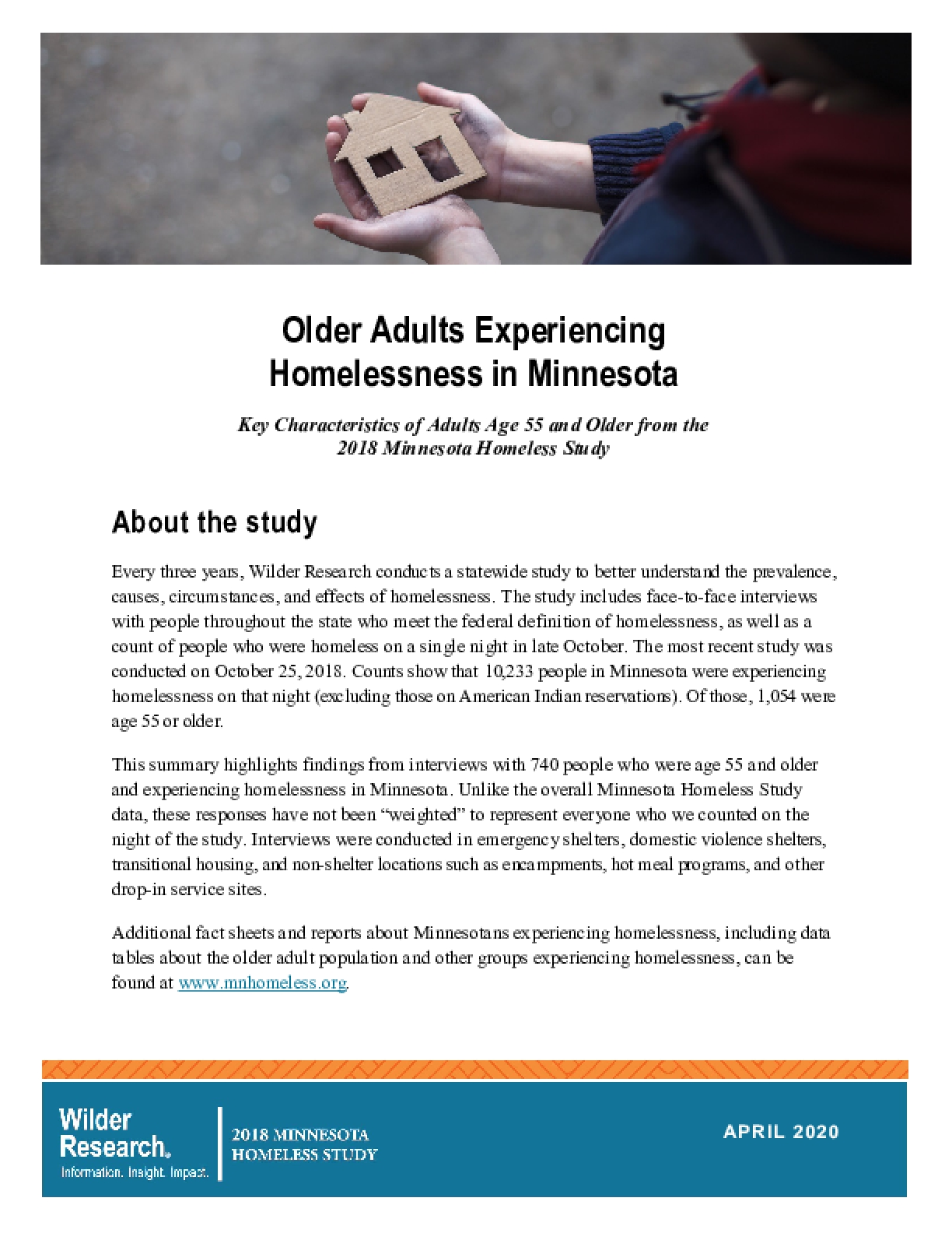 Older Adults Experiencing Homelessness in Minnesota: Key Characteristics of Adults Age 55 and Older from the 2018 Minnesota Homeless Study