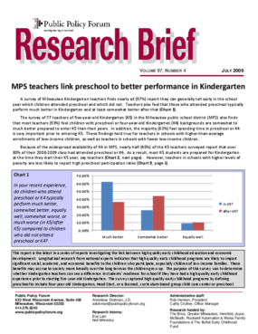 Milwaukee Public School teachers link preschool to better performance in Kindergarten