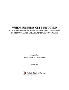 When Business Gets Involved: A case study of business community involvement in Illinois' early childhood education policy