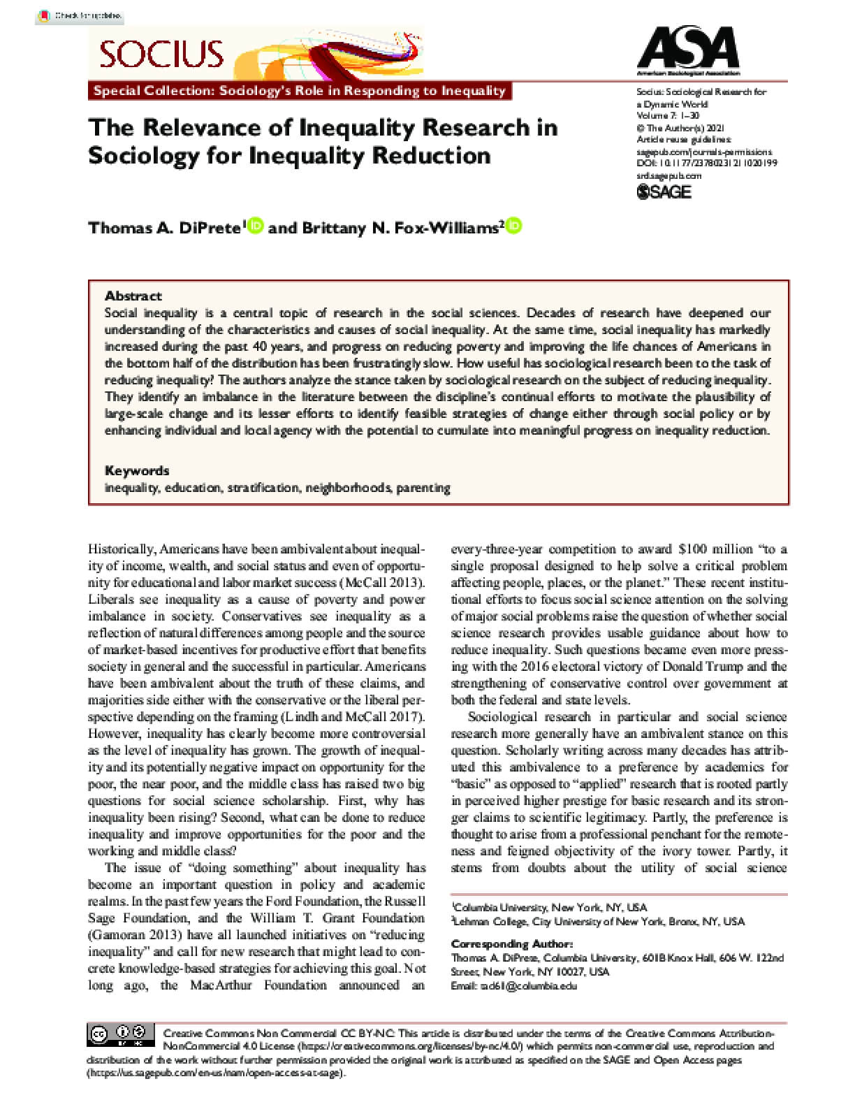 The Relevance of Inequality Research in Sociology for Inequality Reduction