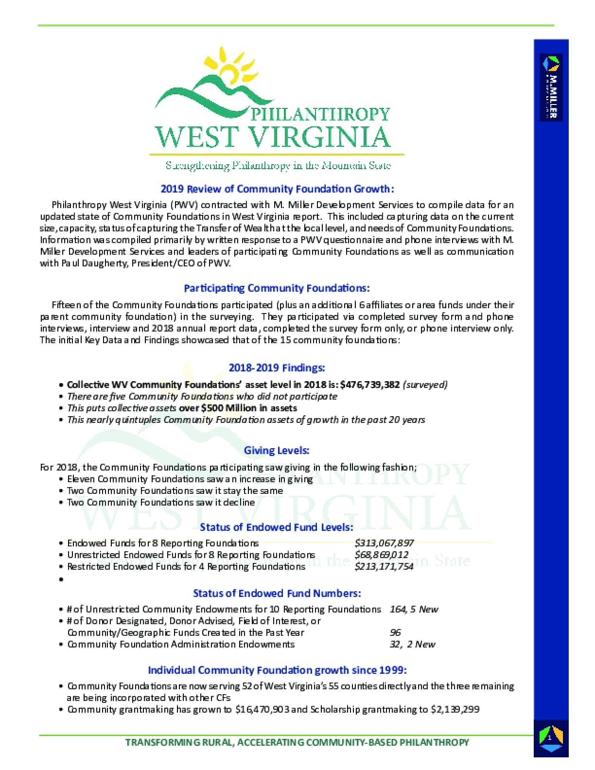 Summary of Transforming Rural: Accelerating Community-Based Philanthropy