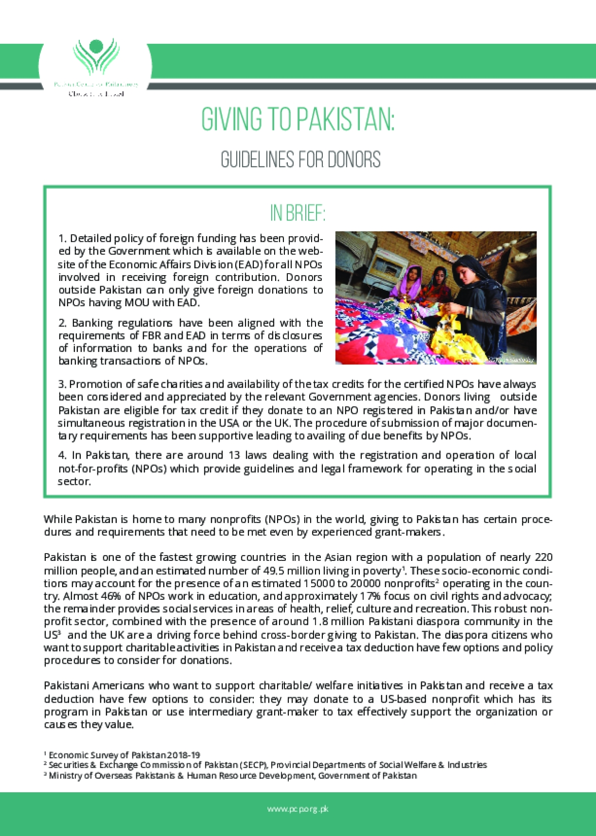 Giving to Pakistan: Guidelines for Donors