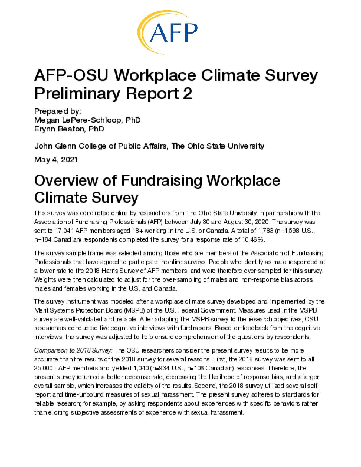 AFP-OSU Workplace Climate Survey Preliminary Report 2