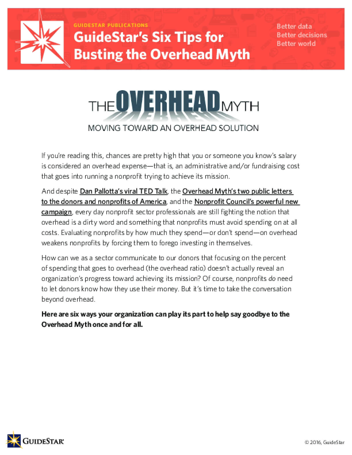 GuideStar's Six Tips for Busting the Overhead Myth
