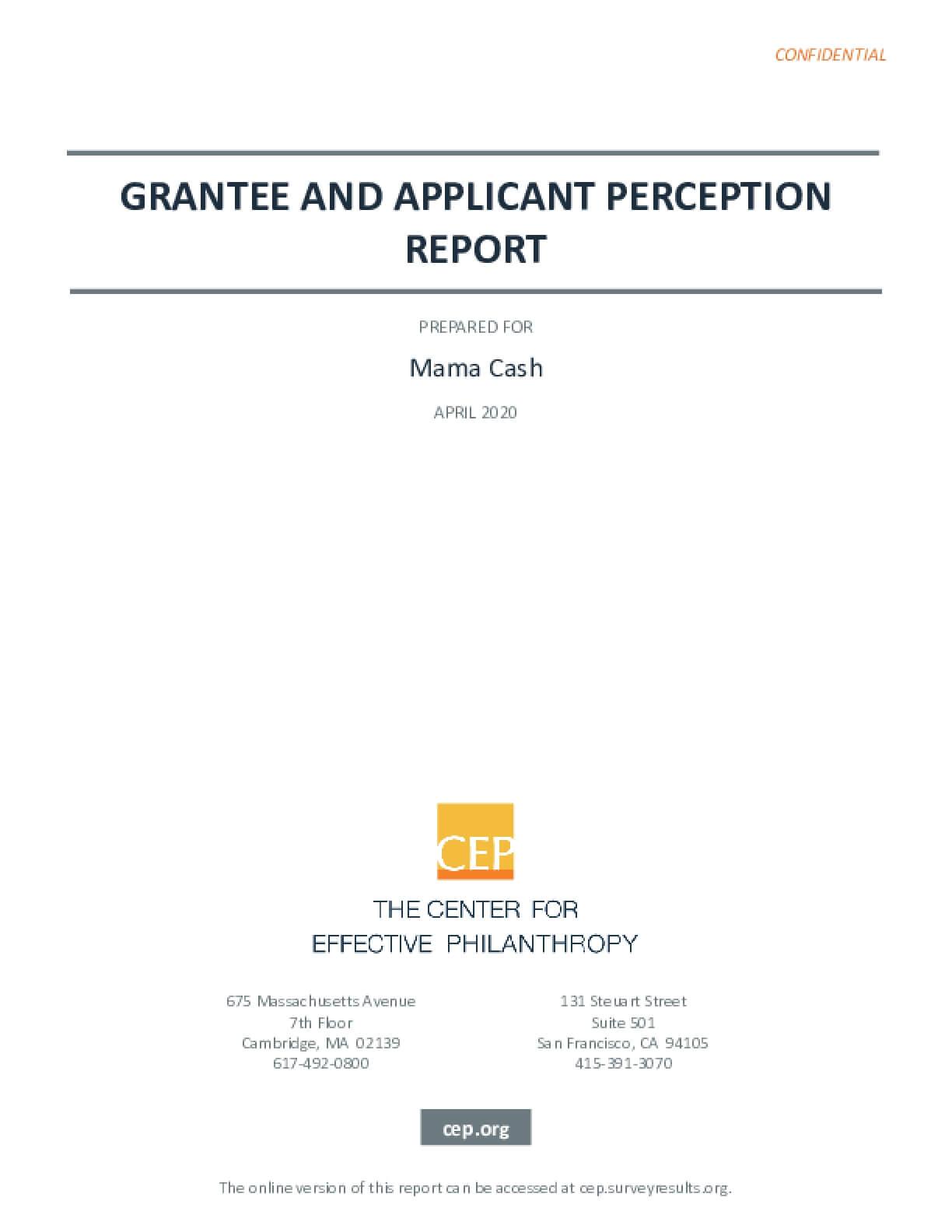 Grantee and Applicant Perception Report: Mama Cash