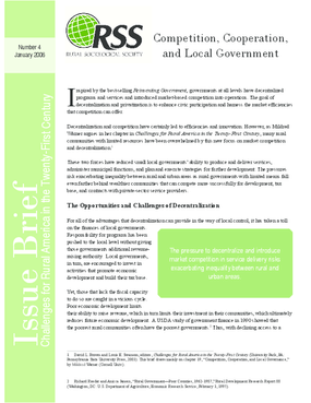 Competition, Cooperation, and Local Government